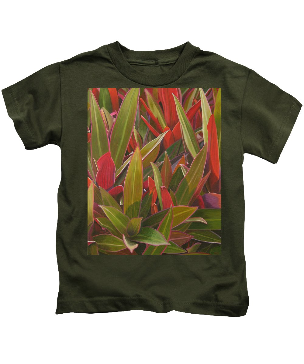 Plants Kids T-Shirt featuring the painting Red Green And Purple by Thu Nguyen