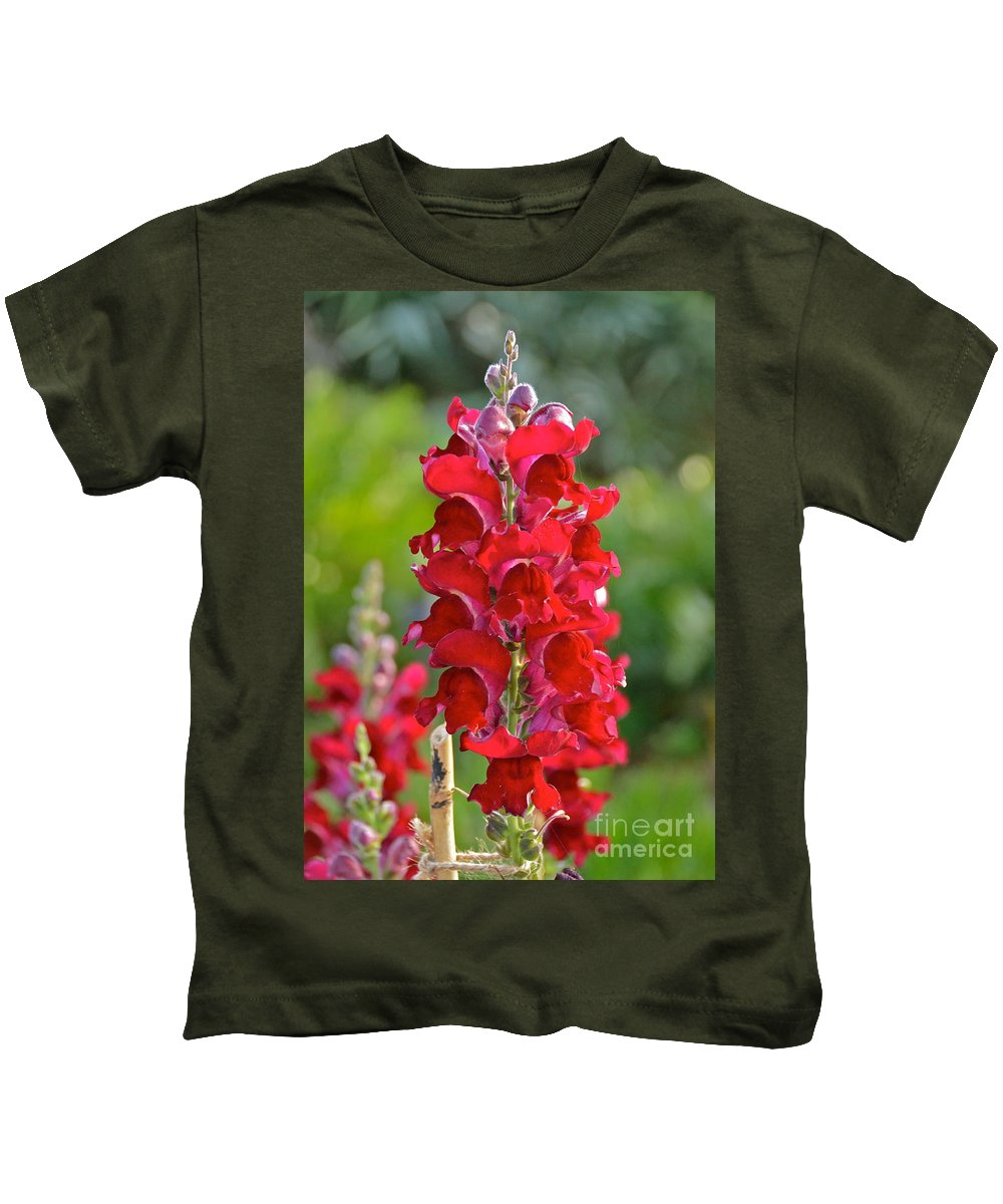 Flower Kids T-Shirt featuring the photograph Red Snapdragon by Carol Bradley