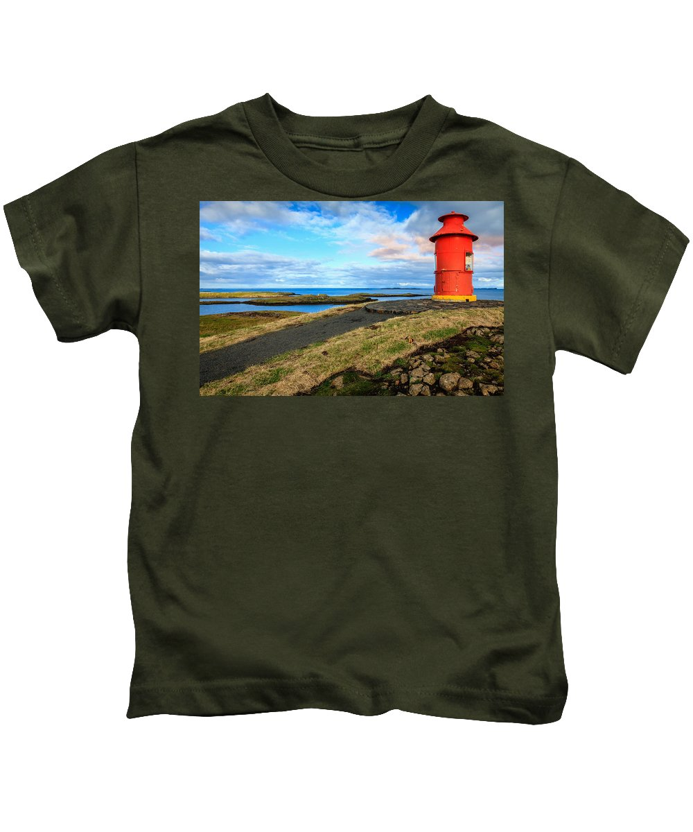 Europe Kids T-Shirt featuring the photograph Red Lighthouse by Alexey Stiop
