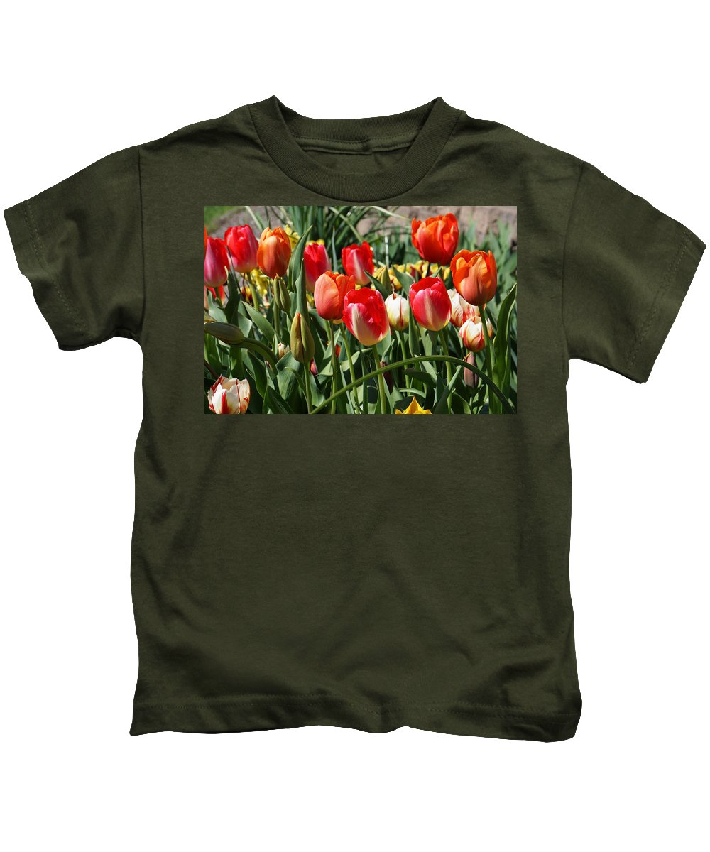 Red Kids T-Shirt featuring the photograph Red Orange Tulip Flowers Art Prints by Baslee Troutman