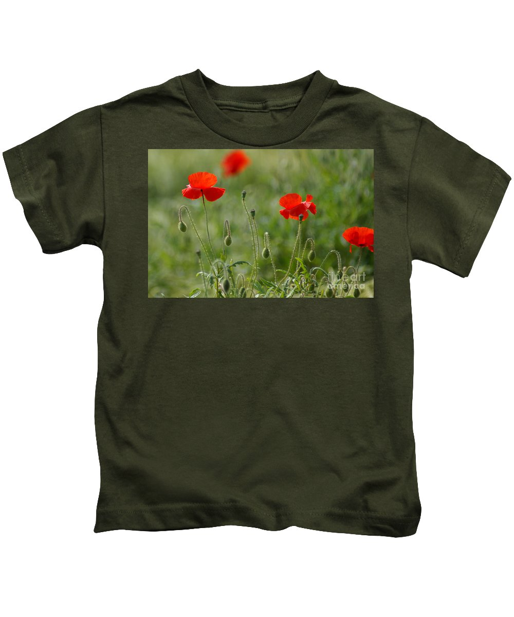 Poppies Kids T-Shirt featuring the photograph Red Poppies 2 by Carol Lynch