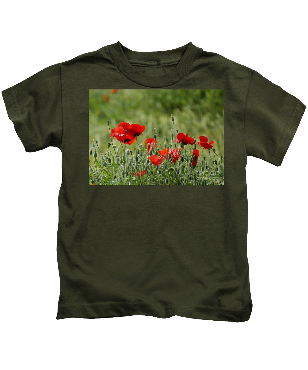 Poppies Kids T-Shirt featuring the photograph Red Poppies 3 by Carol Lynch
