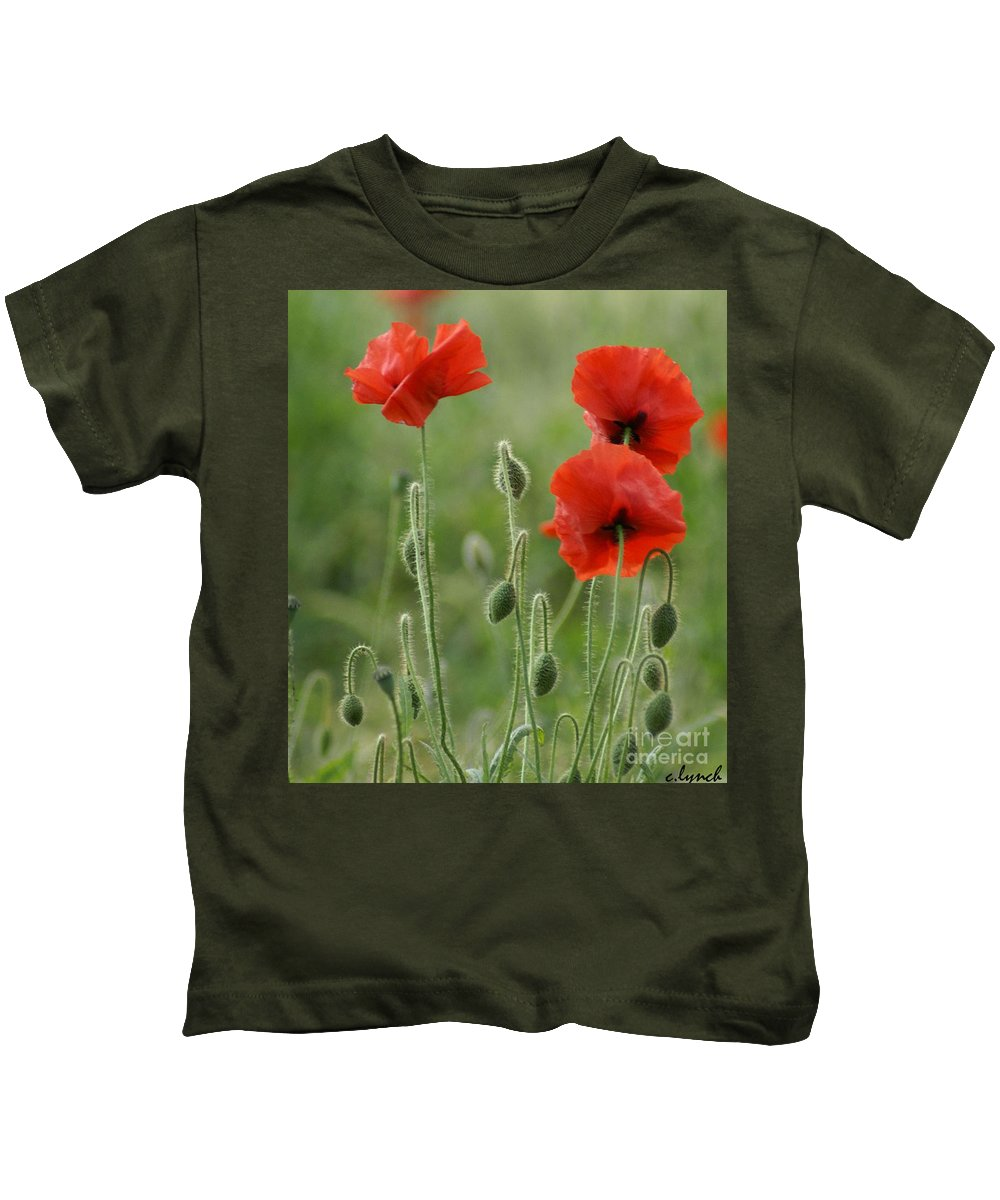 Poppies Kids T-Shirt featuring the photograph Red Red Poppies 1 by Carol Lynch