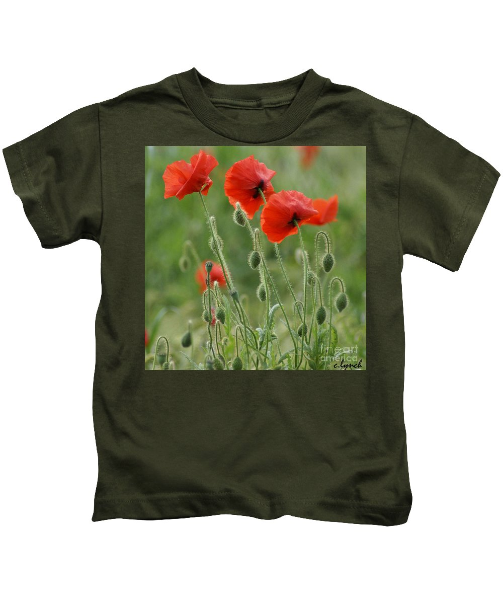 Poppies Kids T-Shirt featuring the photograph Red Red Poppies 2 by Carol Lynch