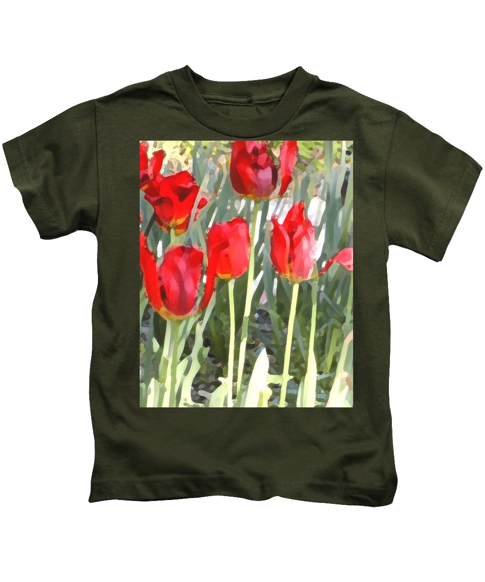 Red Tulips Kids T-Shirt featuring the photograph Red Tulips by Jeanne A Martin