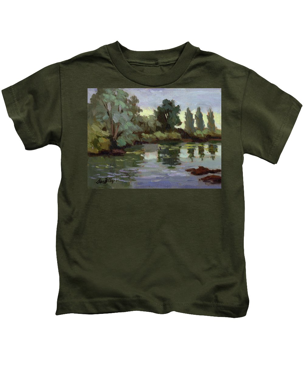 Washington Kids T-Shirt featuring the painting Reflections Duwamish River by Diane McClary