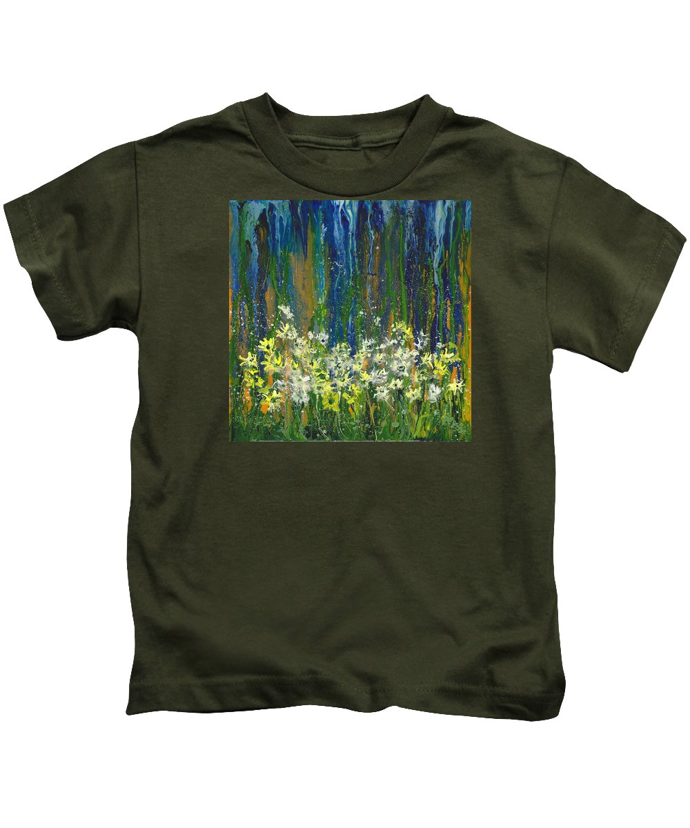 Flower Kids T-Shirt featuring the painting Reminisce by Cindy Johnston
