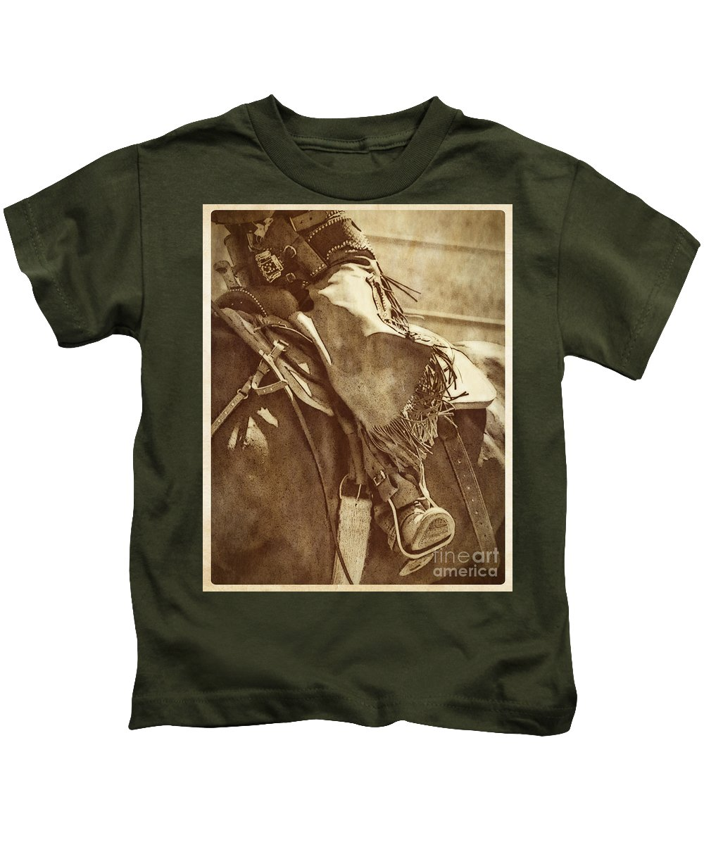 Mounted Shooting Kids T-Shirt featuring the photograph Riding Hard by Priscilla Burgers