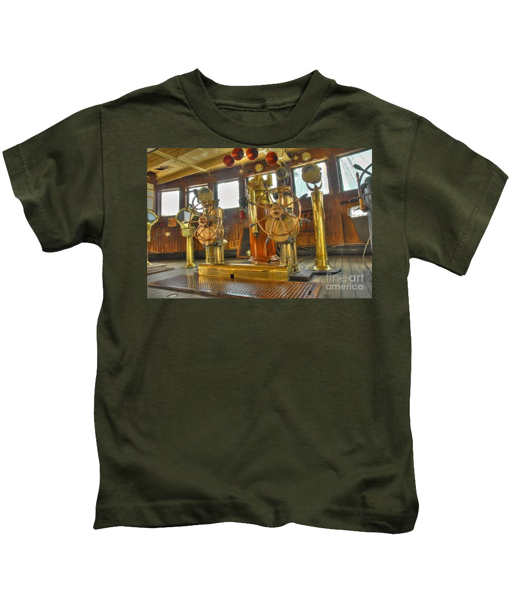 Bridge Kids T-Shirt featuring the photograph Rms Queen Mary Bridge Well-polished Brass Annunciator Controls And Steering Wheels by David Zanzinger