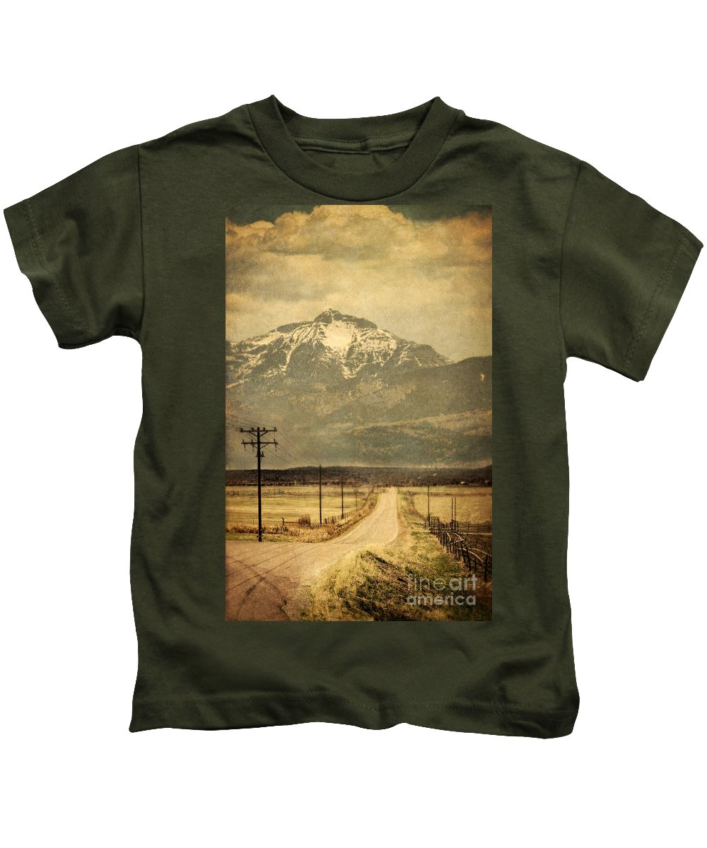 Road Kids T-Shirt featuring the photograph Road To The Mountains by Jill Battaglia