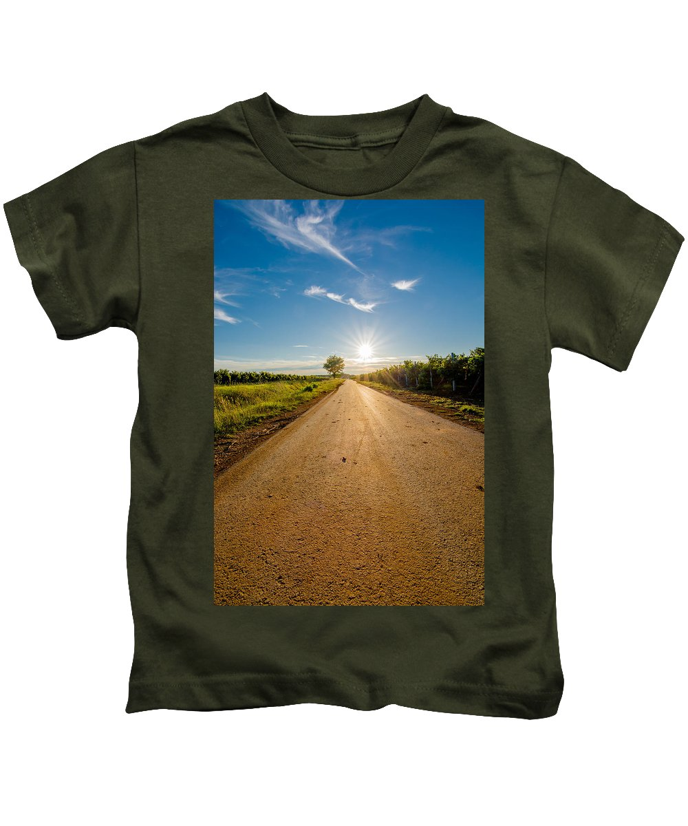 Sun Kids T-Shirt featuring the photograph Road To The Sun by Andreas Berthold