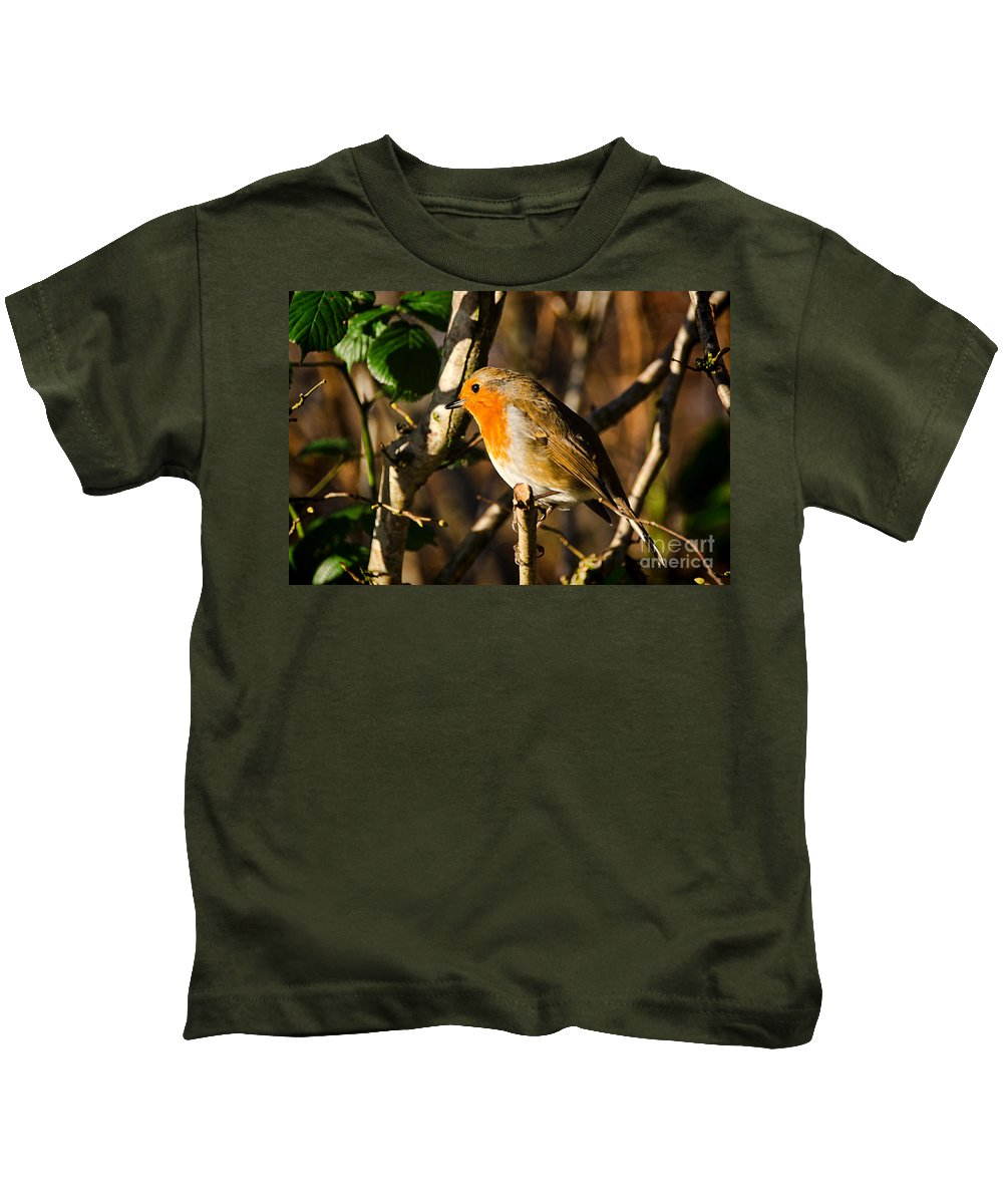 Robin Kids T-Shirt featuring the photograph Robin In The Hedgerow by Susie Peek