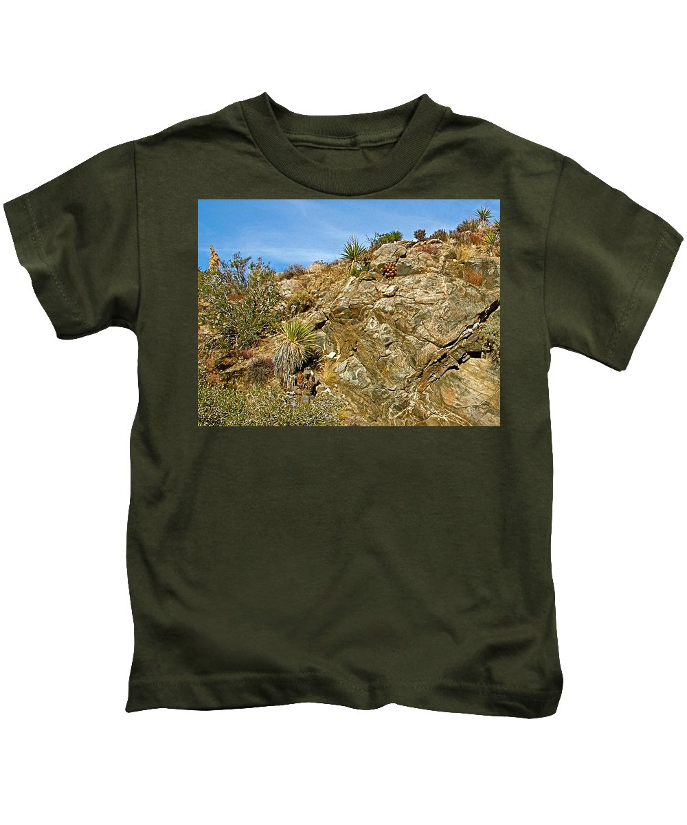 Rock Pile In Black Rock Canyon On Panorama Loop Trail In Joshua Tree National Park Kids T-Shirt featuring the photograph Rock Pile In Black Rock Canyon On Panorama Loop Trail In Joshua Tree National Park-california by Ruth Hager