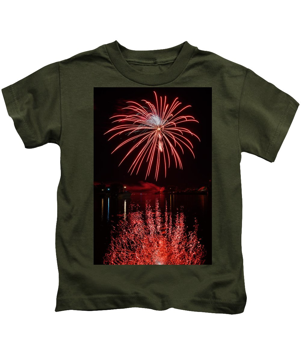 Bill Pevlor Kids T-Shirt featuring the photograph Rocket's Red Glare by Bill Pevlor