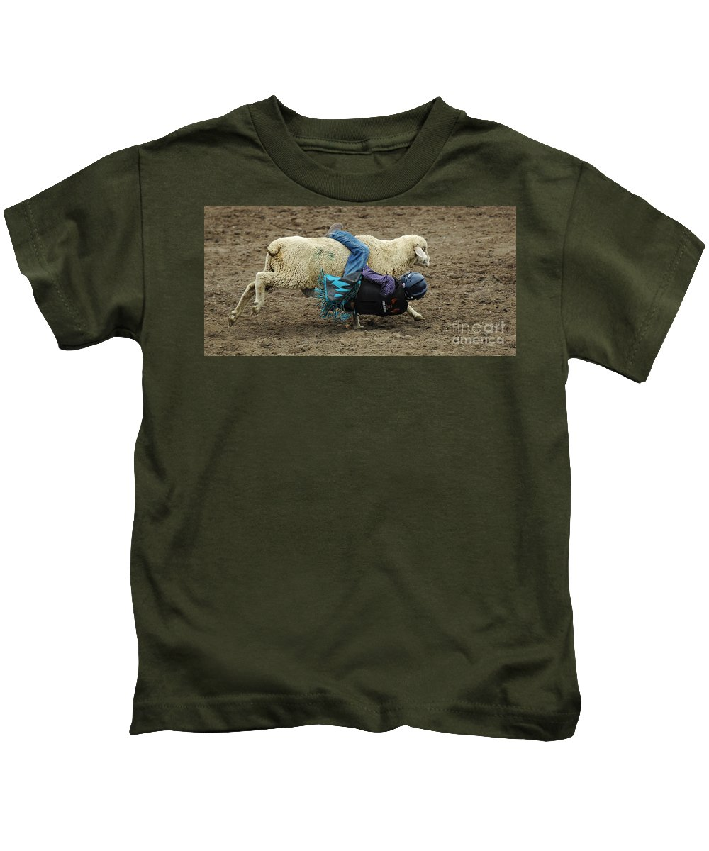 Velcro Kids T-Shirt featuring the photograph Rodeo Velcro Rider 1 by Bob Christopher