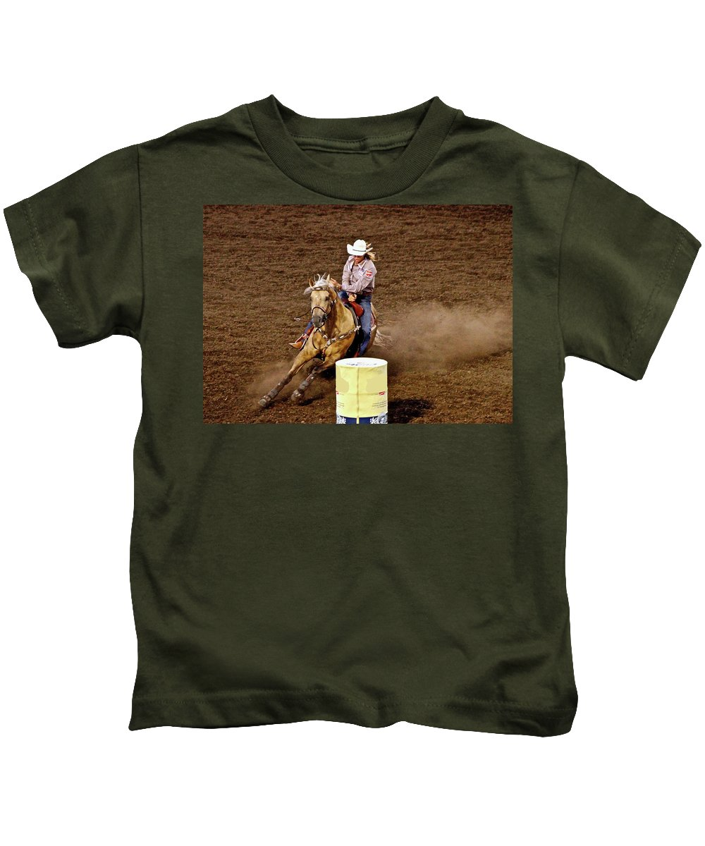 Horse Kids T-Shirt featuring the photograph Roll Out The Barrel by Laddie Halupa