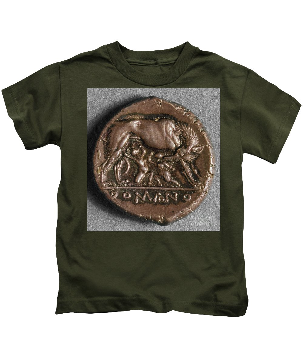 260 B.c Kids T-Shirt featuring the photograph Roman Coin: Romulus by Granger