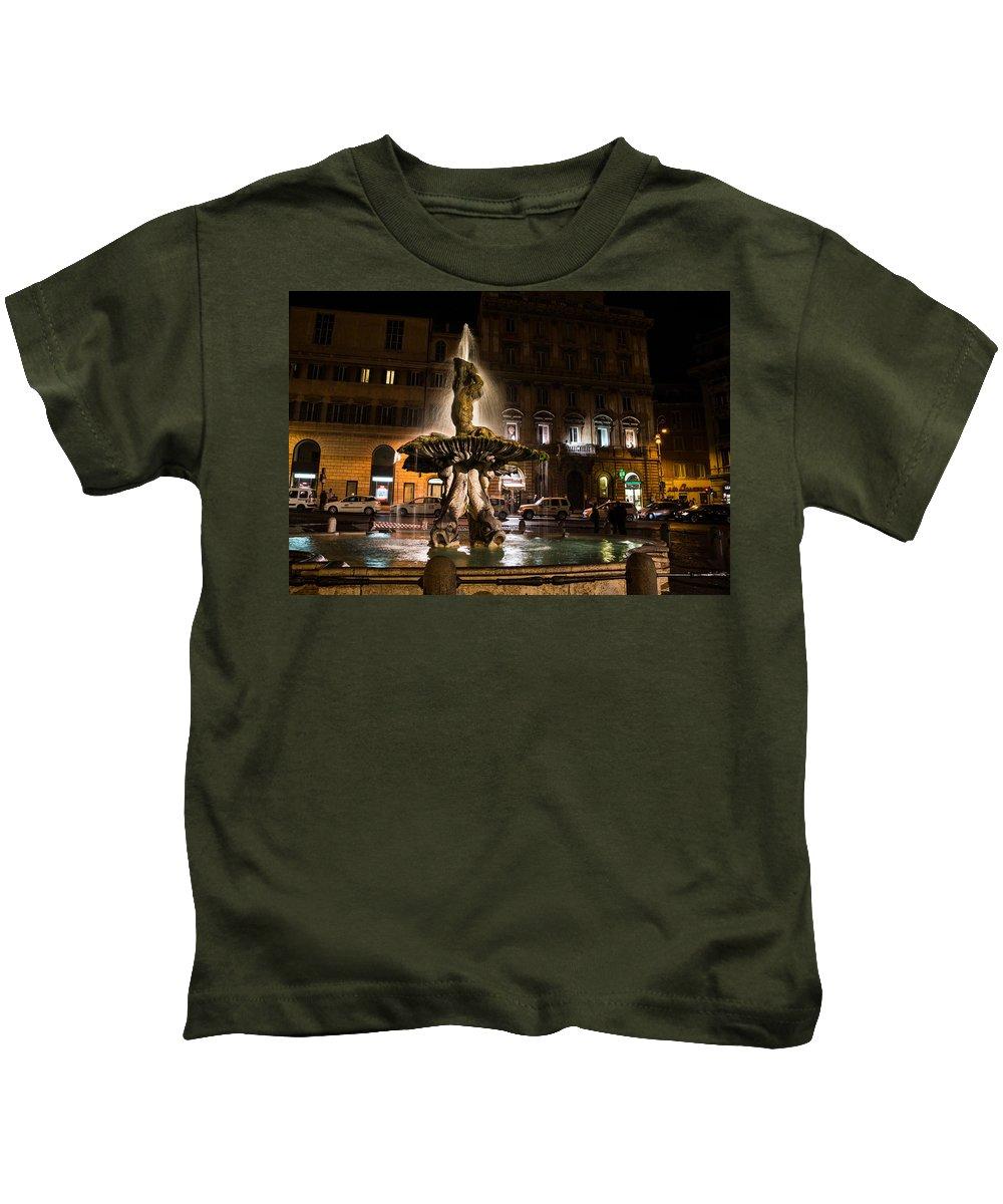 Rome Kids T-Shirt featuring the photograph Rome's Fabulous Fountains - Fontana Del Tritone by Georgia Mizuleva