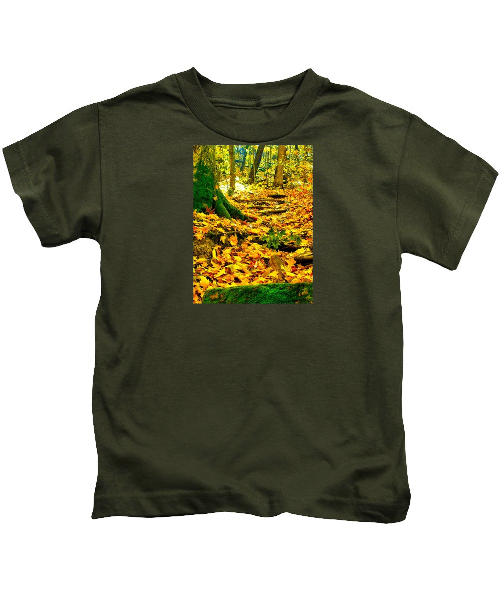 Fall Kids T-Shirt featuring the photograph Root Steps by Zafer Gurel