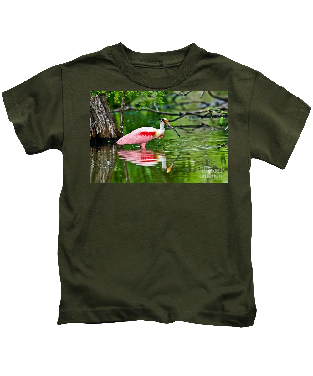 Fauna Kids T-Shirt featuring the photograph Roseate Spoonbill Wading by Anthony Mercieca