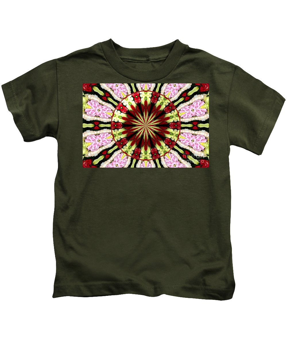 Pink Roses Kids T-Shirt featuring the photograph Roses Kaleidoscope Under Glass 25 by Rose Santuci-Sofranko