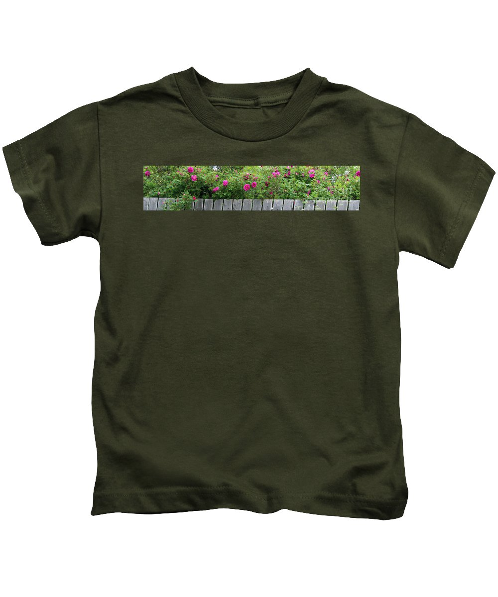 Fence Kids T-Shirt featuring the photograph Roses On A Fence by Barbara Griffin