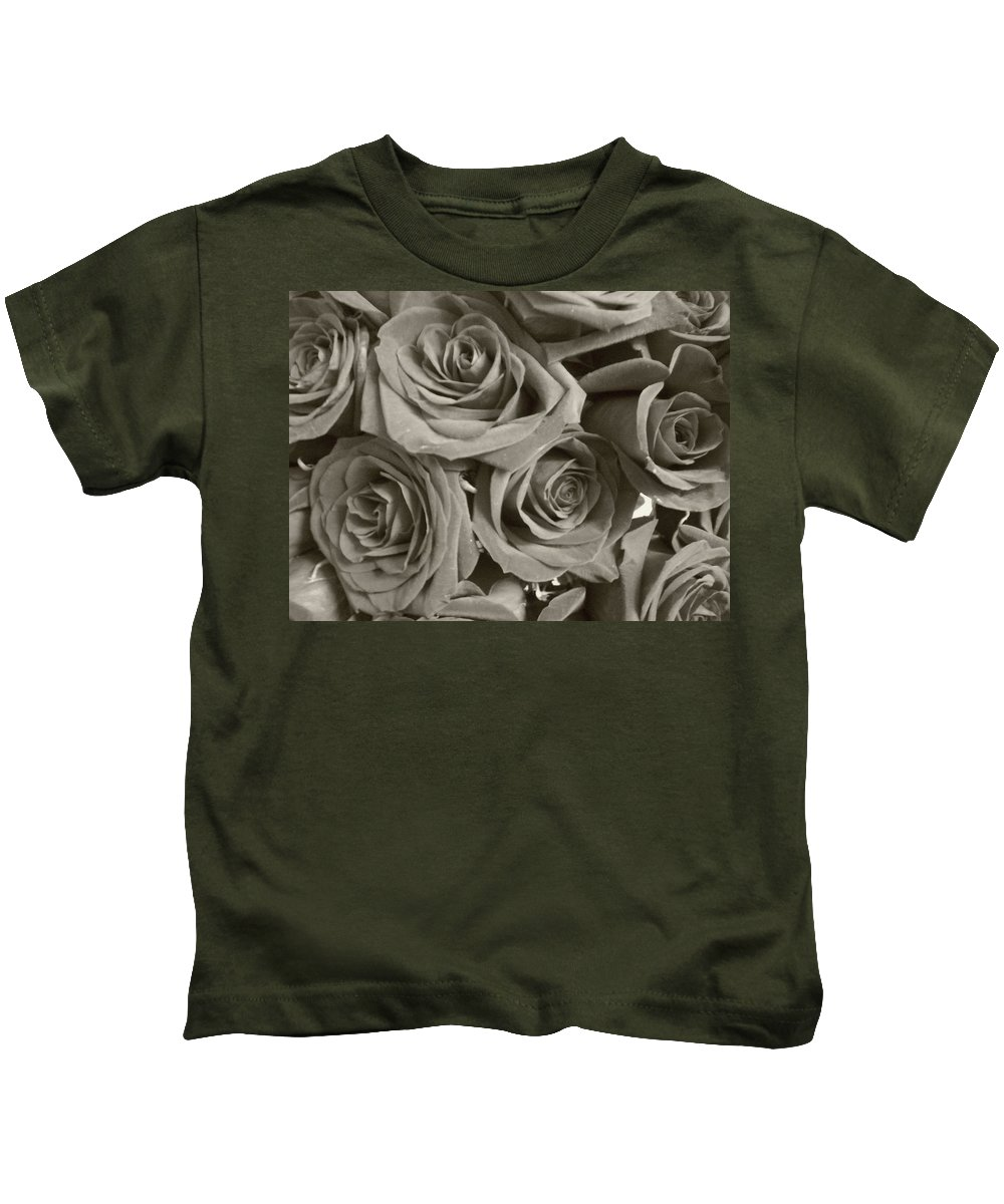 Rose Kids T-Shirt featuring the photograph Roses On Your Wall Sepia by Joseph Baril