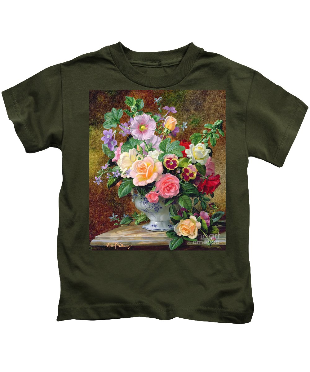 Still-life Kids T-Shirt featuring the painting Roses Pansies And Other Flowers In A Vase by Albert Williams