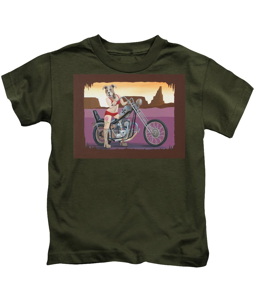 Motorcycle Kids T-Shirt featuring the painting Rosie's Chopper by Stuart Swartz