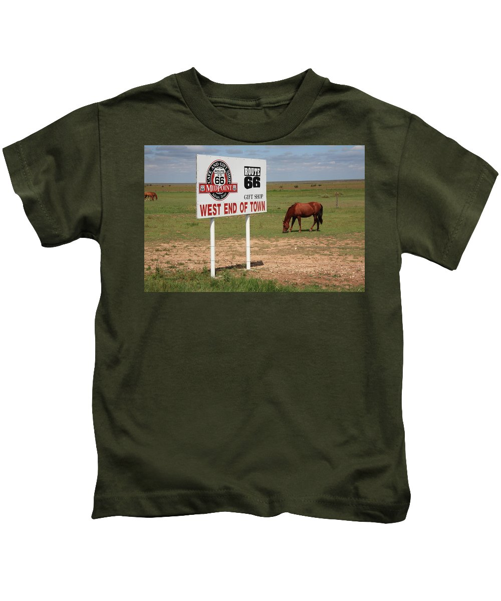 66 Kids T-Shirt featuring the photograph Route 66 - Adrian Texas by Frank Romeo