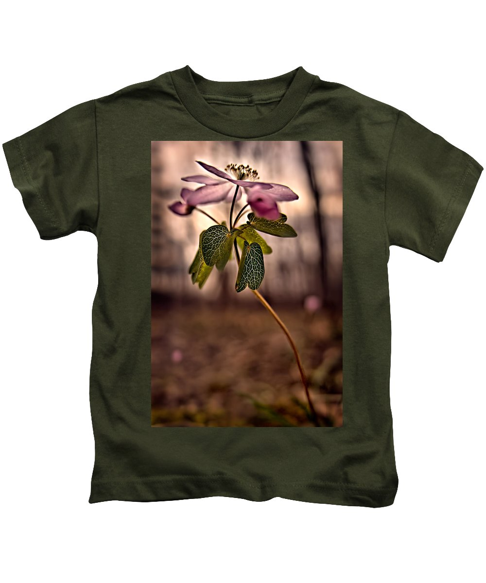 2011 Kids T-Shirt featuring the photograph Rue Anemone by Robert Charity