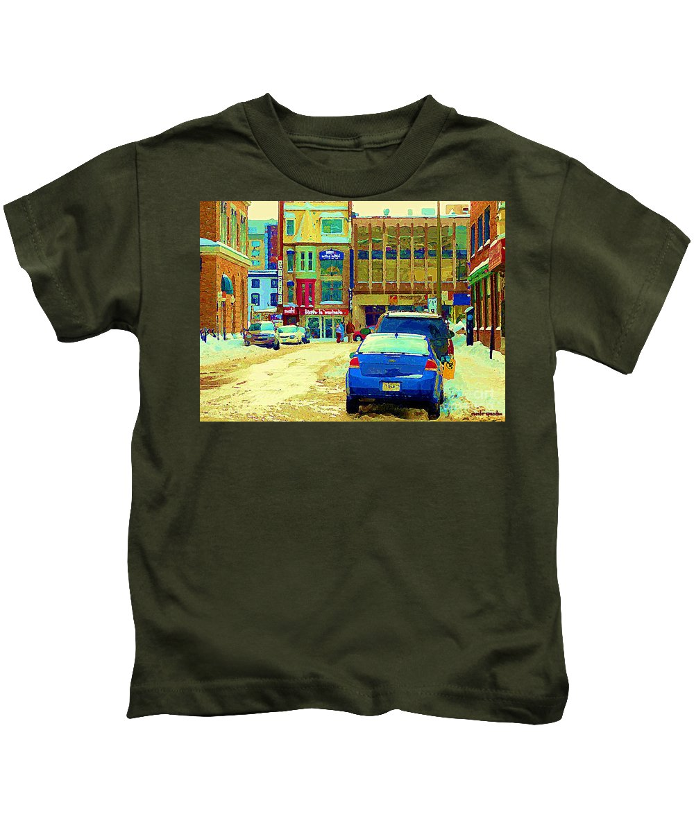 Downtown Montreal Kids T-Shirt featuring the painting Rue Stanley Cafe Bistro La Marinara Italian Resto Asm Acting School Downtown Montreal Urban Scenes  by Carole Spandau