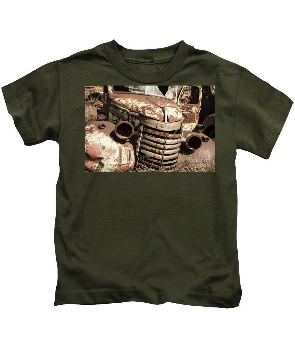 Rusty Kids T-Shirt featuring the photograph Rusted Pickup by Rob Hawkins