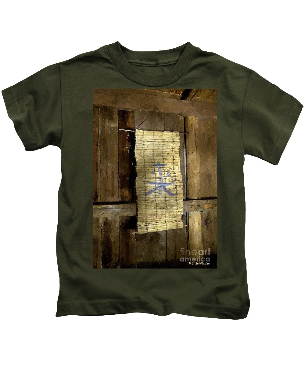 Japanese Kids T-Shirt featuring the painting Rustic Teahouse by RC DeWinter