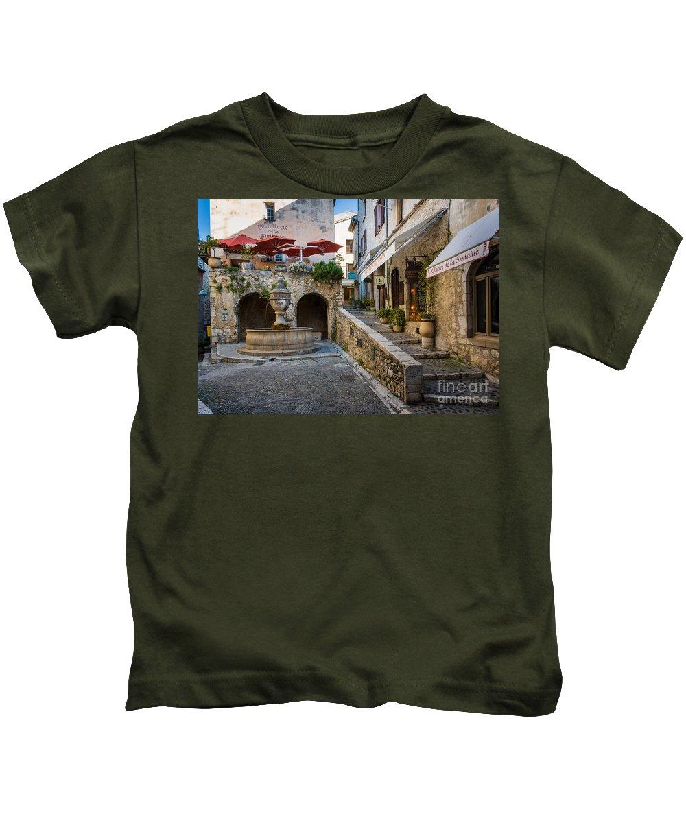Cote D'azur Kids T-Shirt featuring the photograph Saint Paul Square by Inge Johnsson