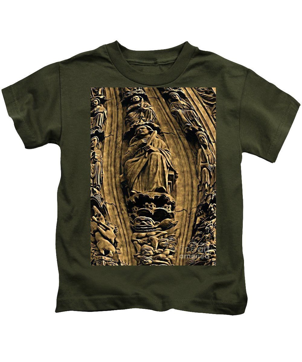 Statues Kids T-Shirt featuring the painting Saints And Demons by John Malone