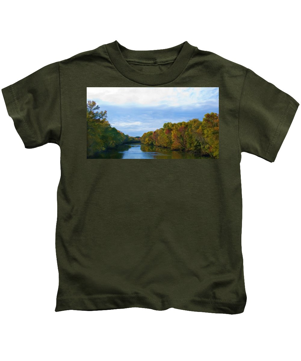 Saluda River Kids T-Shirt featuring the painting Saluda River In The Fall by Steven Richardson