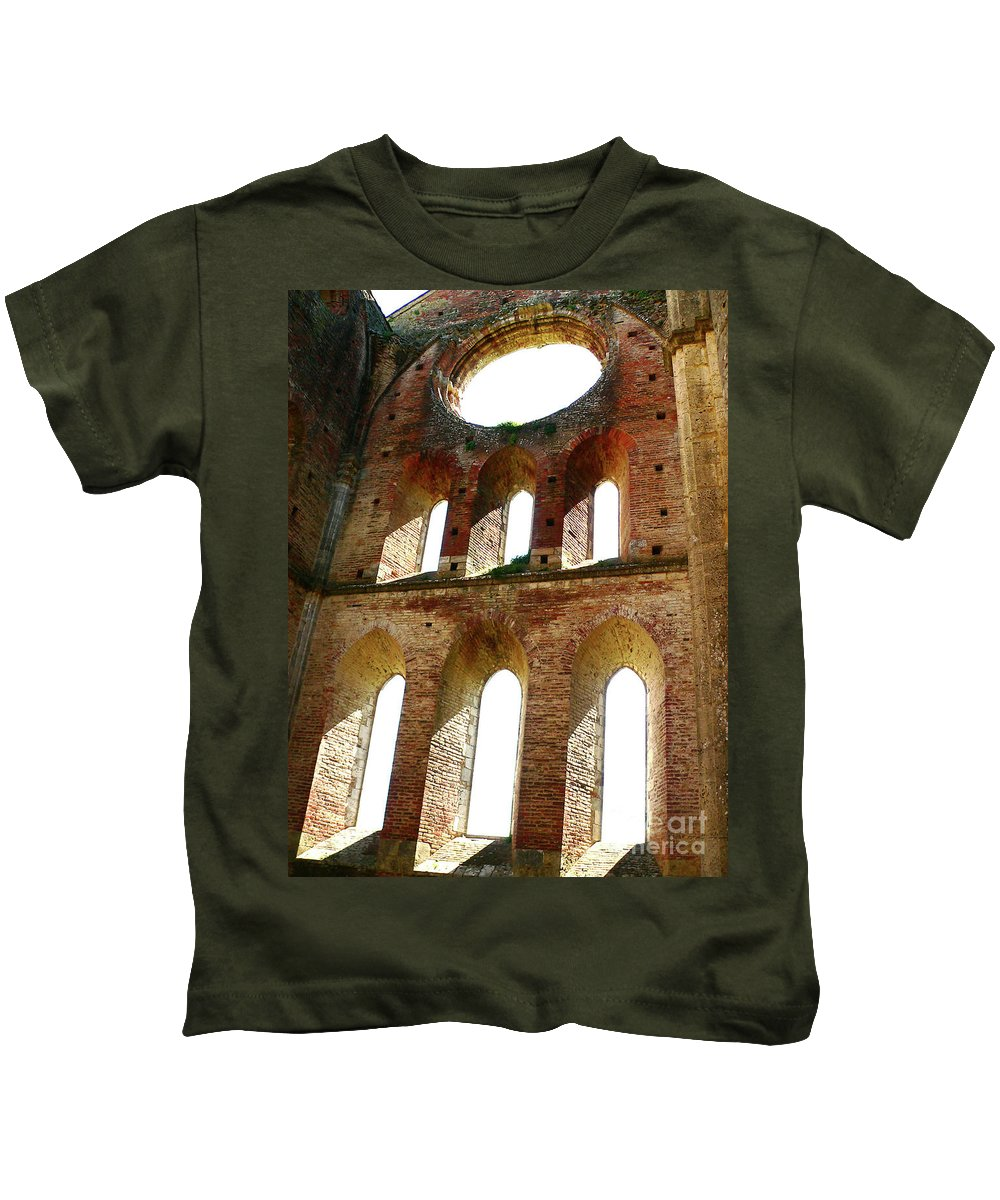 Abbey Kids T-Shirt featuring the photograph San Galgano by Angela Wright