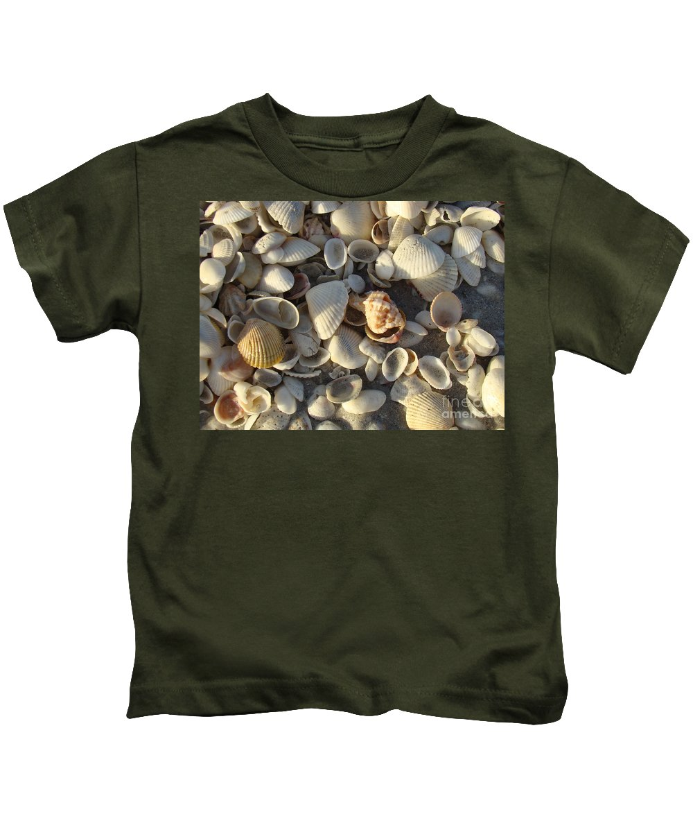 Shells Kids T-Shirt featuring the photograph Sanibel Island Shells 3 by Nancy L Marshall