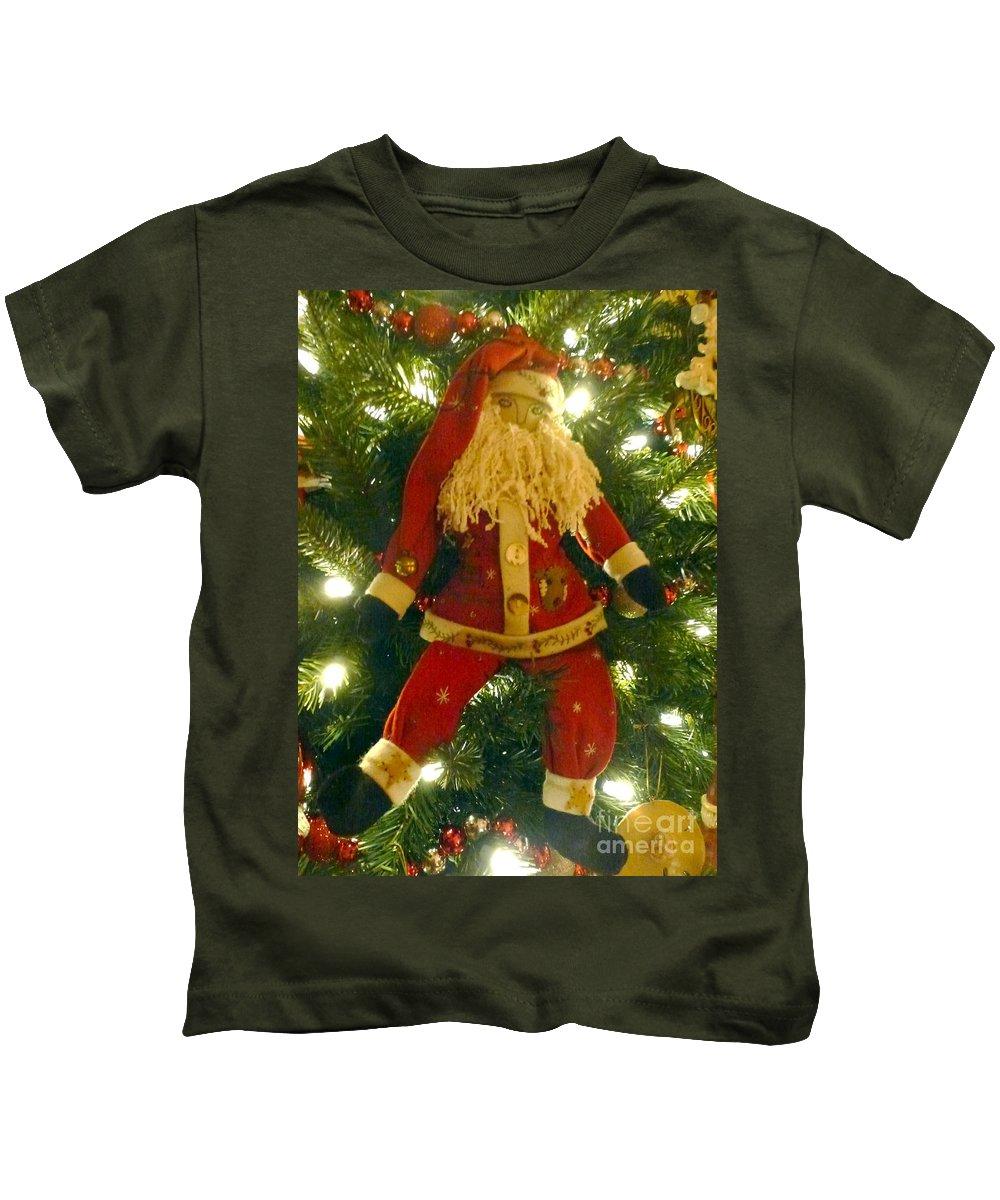 Santa Claus Kids T-Shirt featuring the photograph Santa Got Hung Up by Barbie Corbett-Newmin