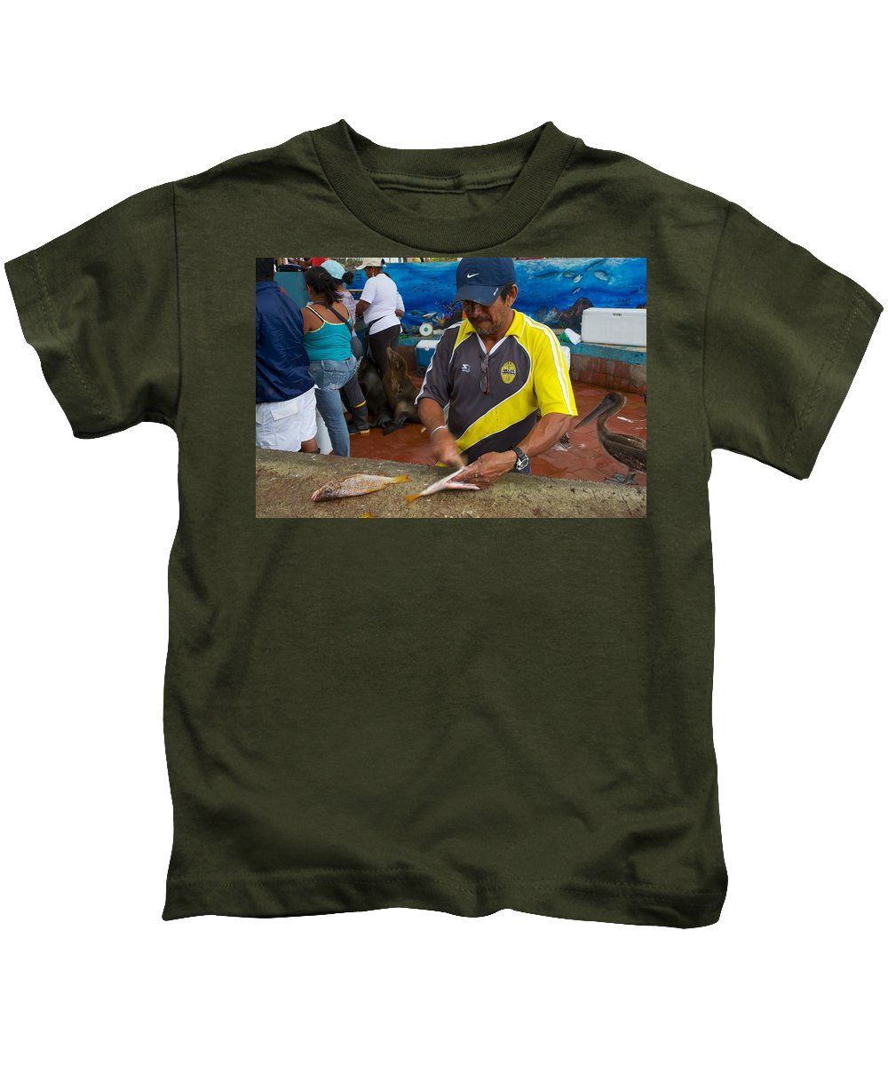 Galapagos Kids T-Shirt featuring the photograph Scaling Fish In The Galapaogs by Allan Morrison