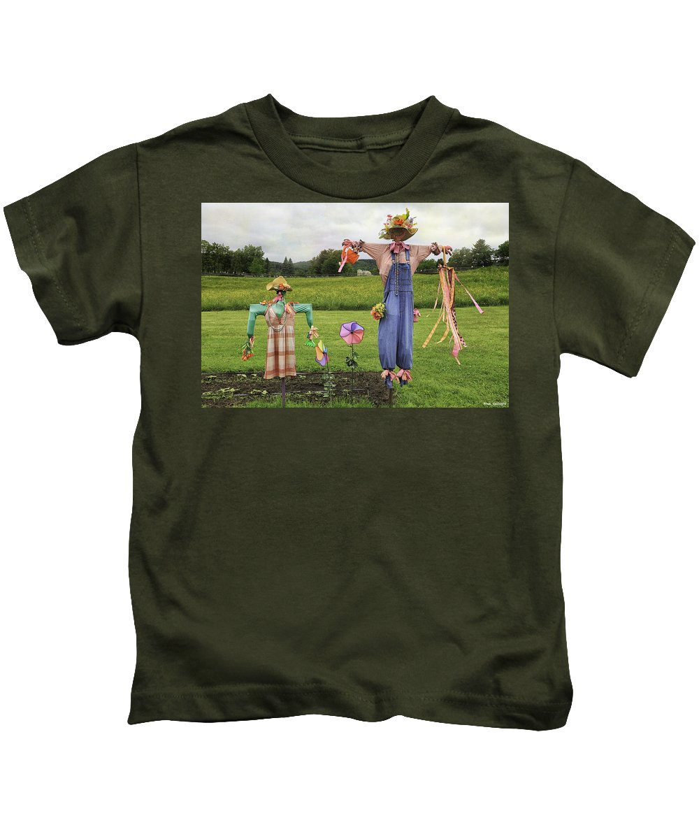 Scarecrows Kids T-Shirt featuring the photograph Scarecrows by Fran Gallogly