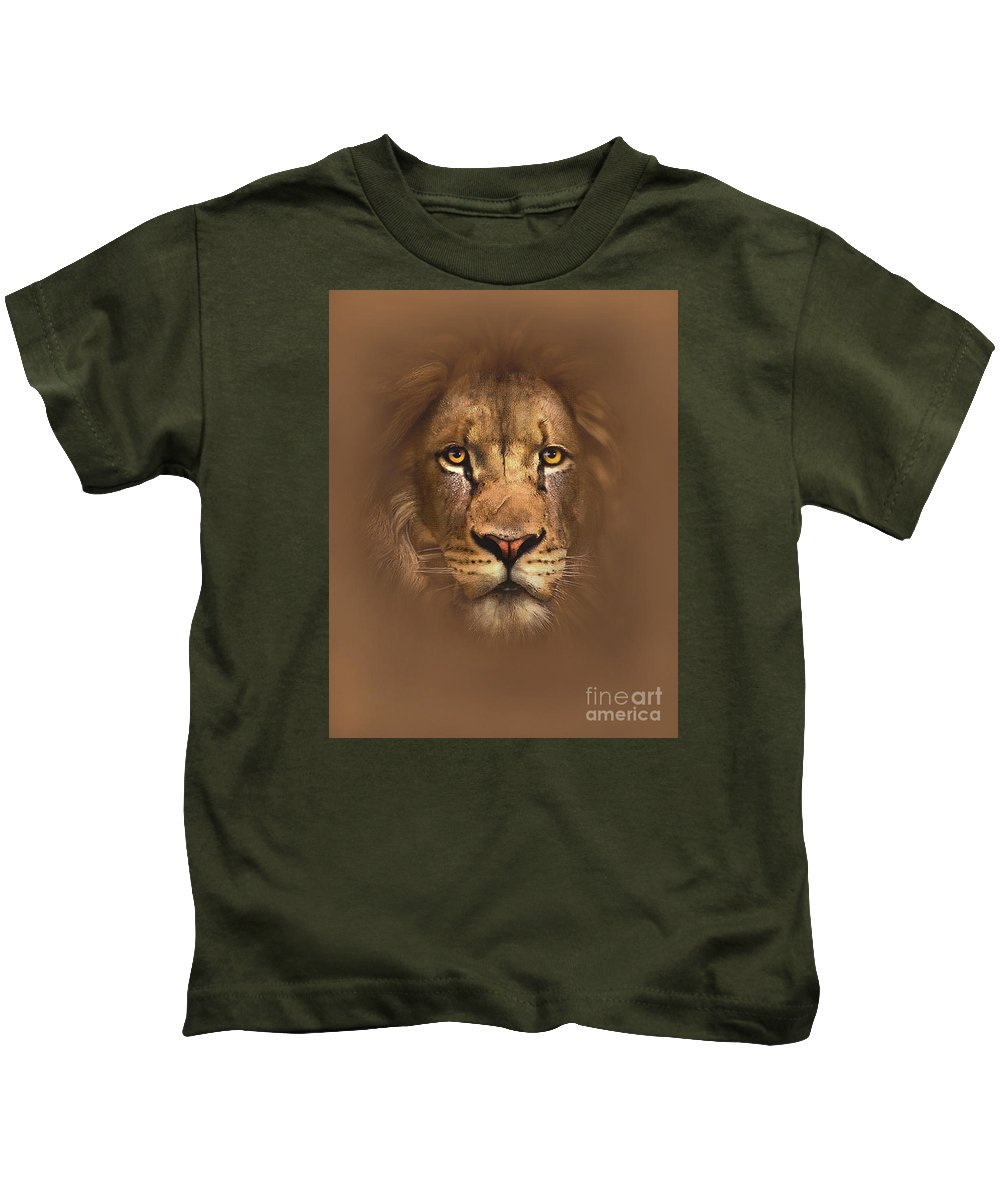 cfd392a53 Lion Kids T-Shirt featuring the painting Scarface Lion by Robert Foster
