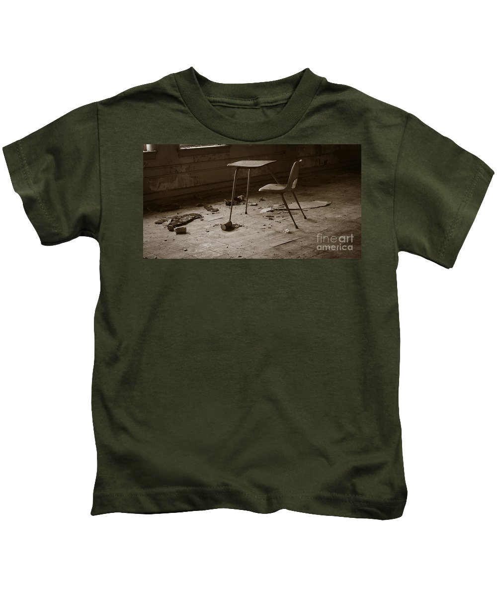 Abandoned Kids T-Shirt featuring the photograph School's Out by Luke Moore