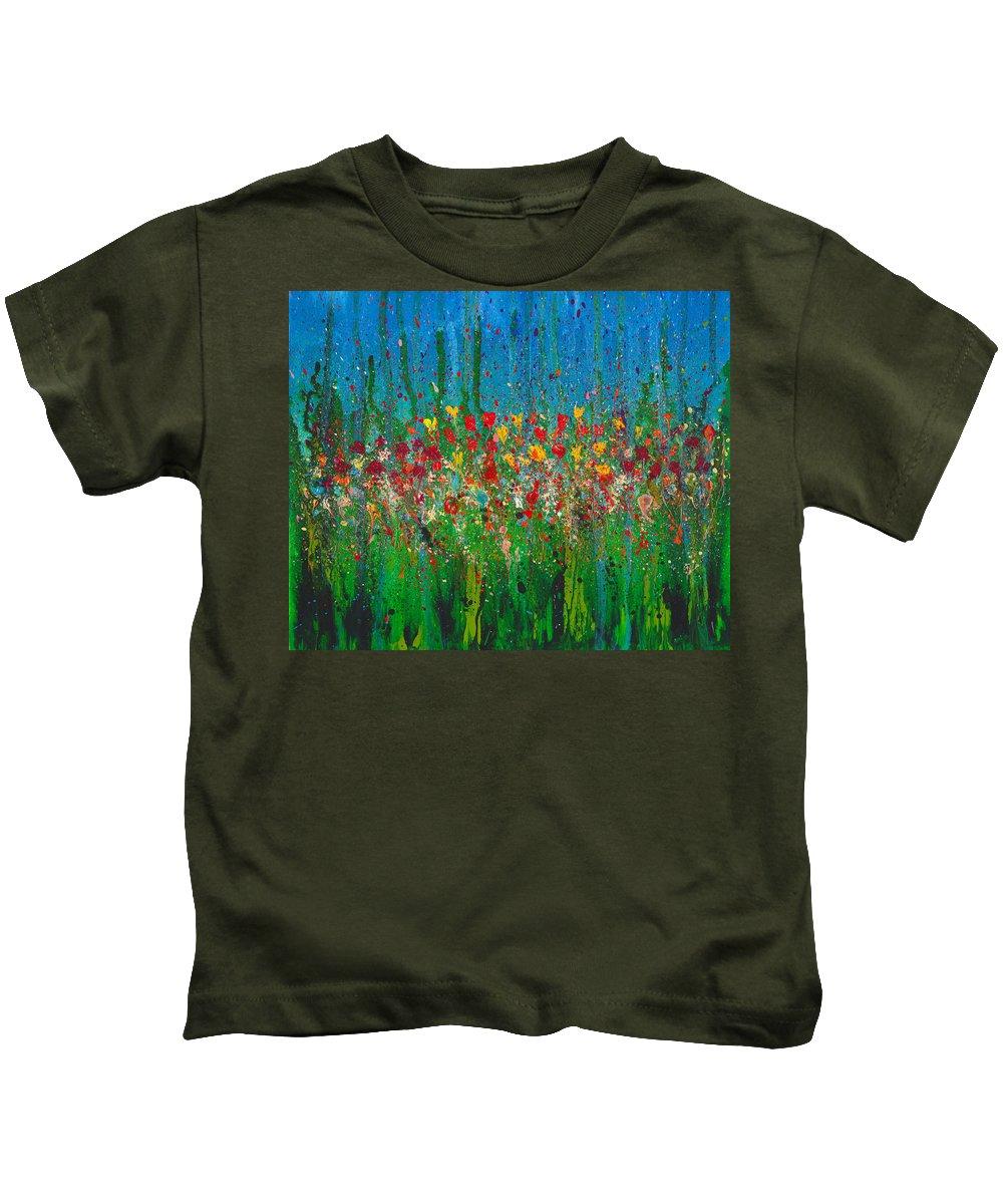 Flower Kids T-Shirt featuring the painting Secret Garden by Cindy Johnston