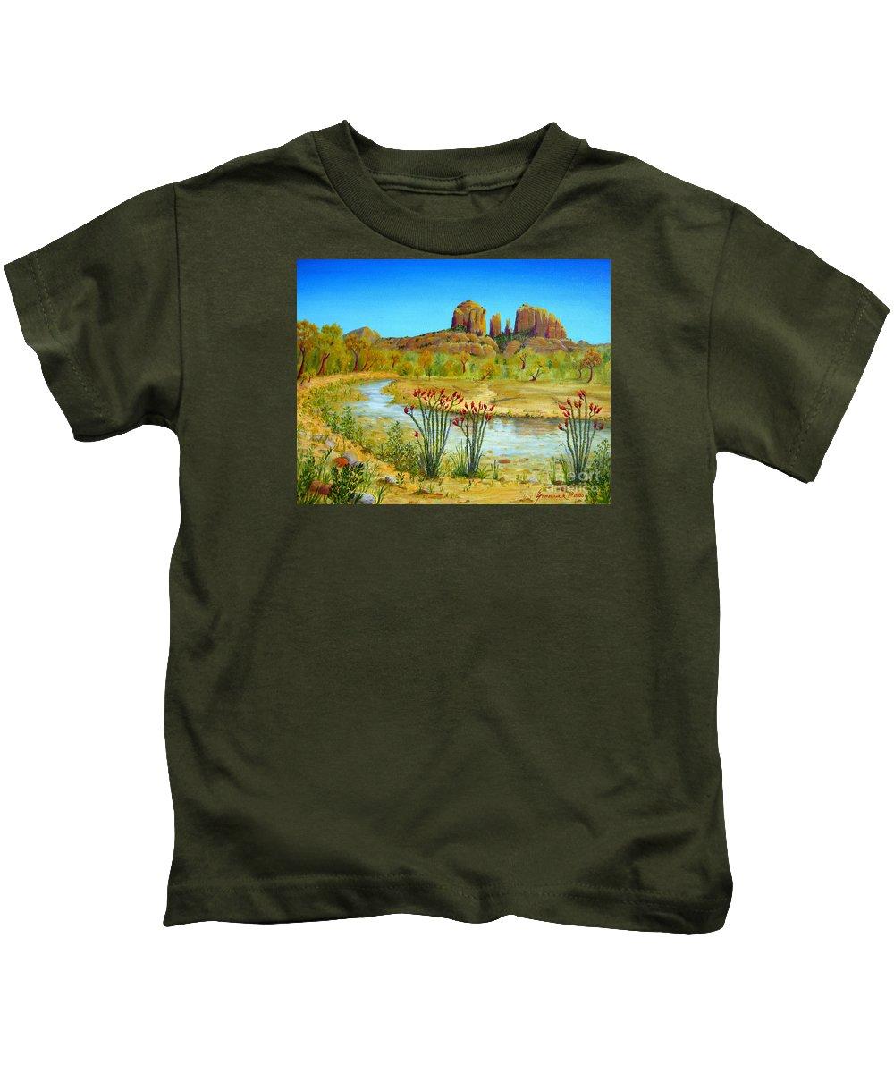 Sedona Kids T-Shirt featuring the painting Sedona Arizona by Jerome Stumphauzer