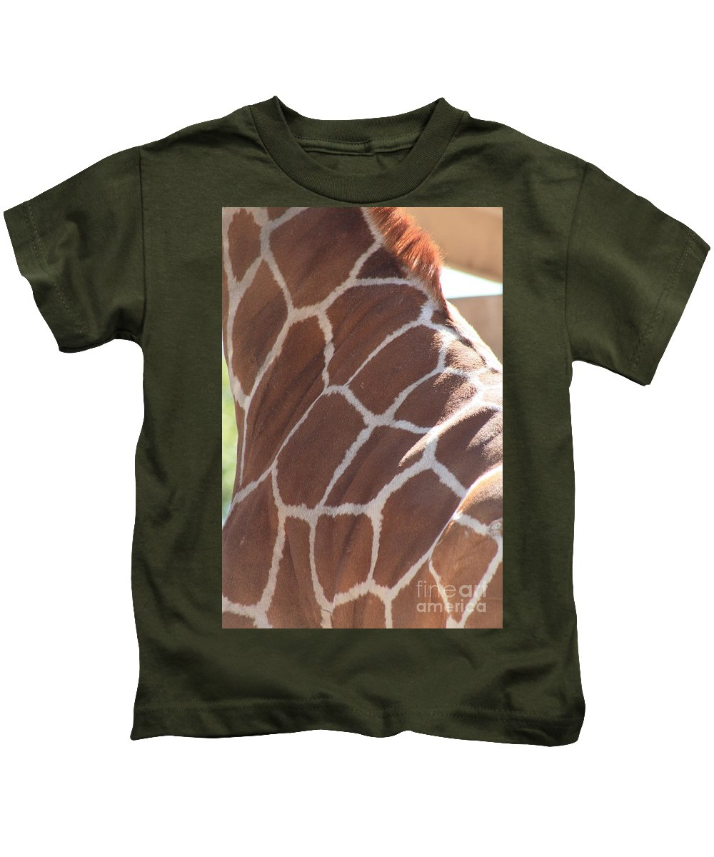 Giraffe Kids T-Shirt featuring the photograph Seeing Spots by Brandi Maher