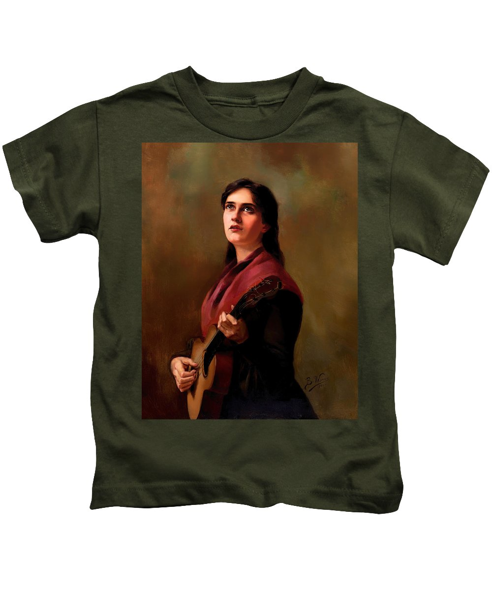 Painting Kids T-Shirt featuring the painting Sentimental Song by Mountain Dreams