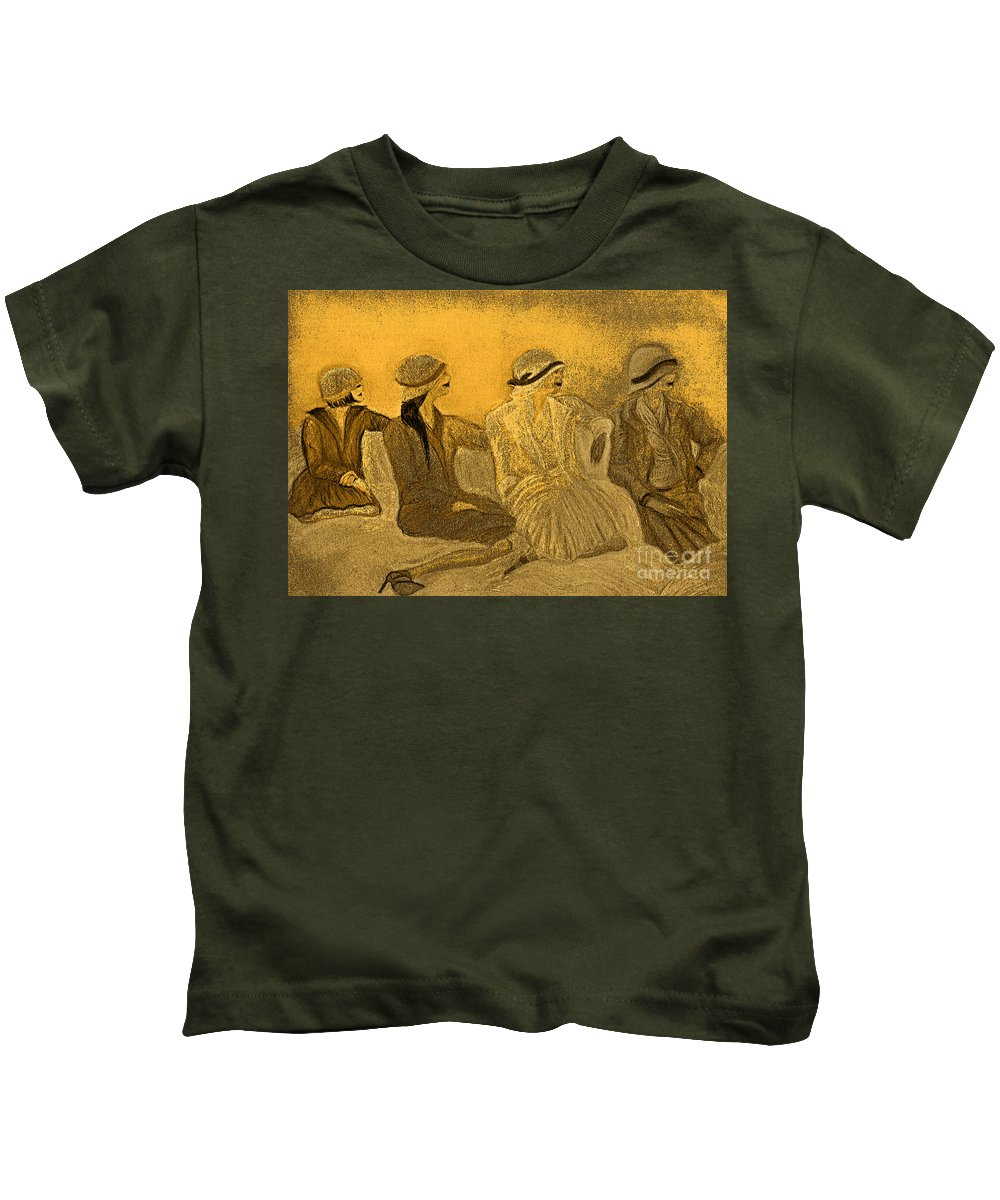 Jrr Kids T-Shirt featuring the painting Sepia Hats By Jrr by First Star Art