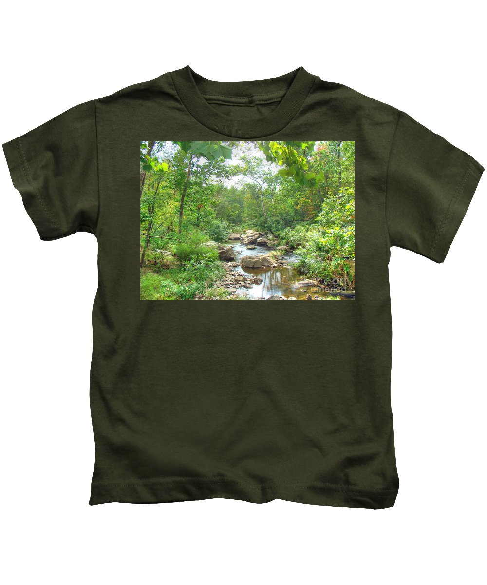 Kids T-Shirt featuring the photograph September Arrives At The Unami Creek by Mother Nature